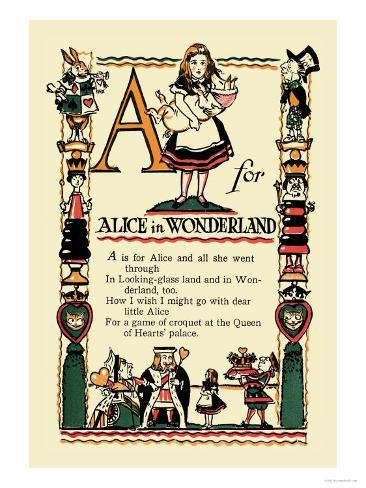 A for Alice in Wonderland Art Print