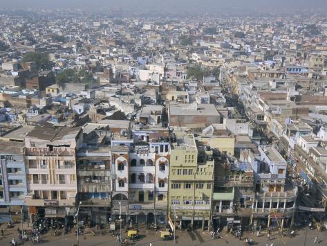 Centre of Old Delhi, Seen from Minaret of Jamia Mosque, Delhi, India Photographic Print