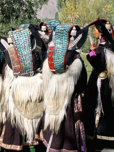 Ladakhi Women in Traditional Clothing, Yak-Skin Coat and Turquoise Head Dress, Ladakh, India Photographic Print