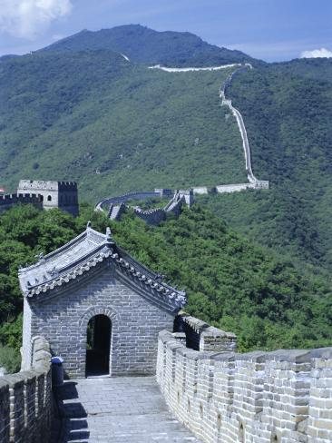 Restored Section with Watchtowers of the Great Wall, Northeast of Beijing, Mutianyu, China Photographic Print