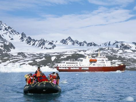 Tourists in Zodiac from Ice-Breaker Tour Ship, Spitsbergen, Norway Photographic Print