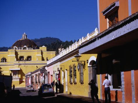 Colourful Buildings in Street, Antigua Guatemala, Sacatepequez, Guatemala Photographic Print