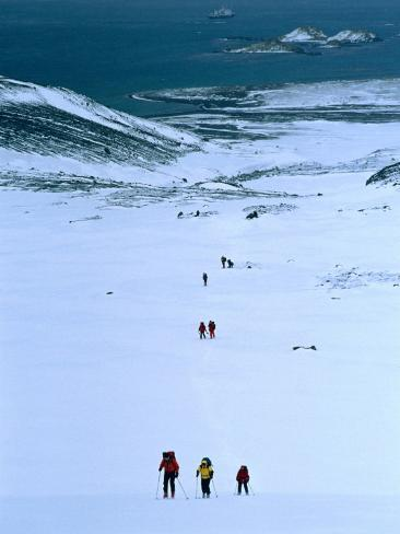 People Trekking Up to Shackleton Gap from Peggotty Camp, South Georgia, Antarctica Photographic Print