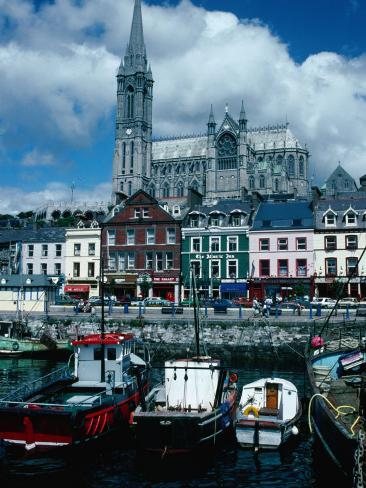 St Coleman's Cathedral and Port of Cobh, Cobh, Ireland Photographic Print