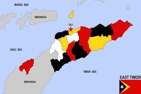 East Timor Map Art Print