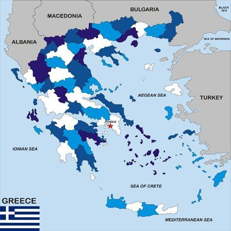 Greece Map Art Print