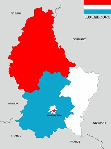 Luxembourg Map Premium Giclee Print