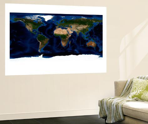 Topographic & Bathymetric Shading of Full Earth Wall Mural