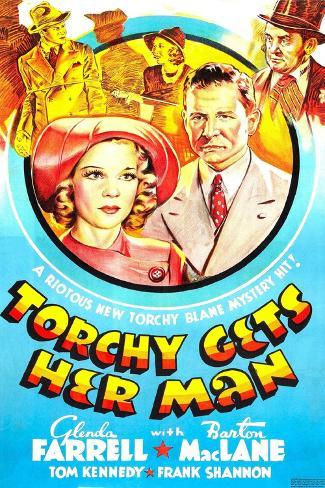 TORCHY GETS HER MAN, US poster, center left: Glenda Farrell, Barton MacLane, 1938 Art Print