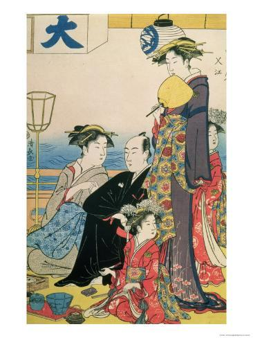 Women of the Gay Quarters, Right Hand Panel of a Diptych (Colour Woodblock Pring) Giclee Print