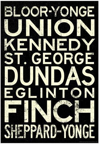 Toronto Metro Stations Vintage Travel RetroMetro Poster Poster