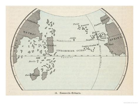 Map of the Atlantic Ocean According to Toscanelli Before the Discovery of America Giclee Print