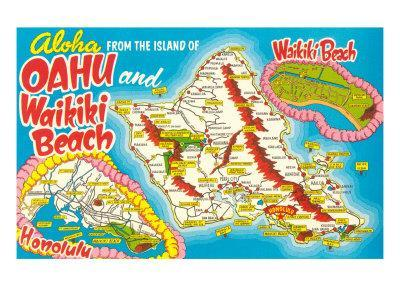 Tourist Map of Oahu, Hawaii Posters at AllPosters.com