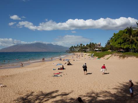 Tourists on the Beach, Makena, Maui, Hawaii, USA Stretched Canvas Print
