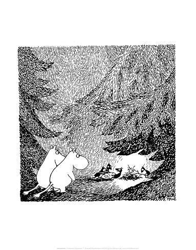 Vintage Moomin Illustration Impressão artística