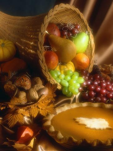 Basket of Fruit and Pumpkin Pie Photographic Print