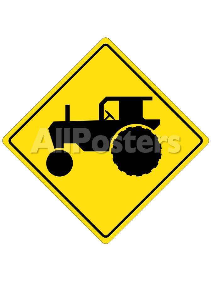 オールポスターズの tractor crossing sign poster 高画質プリント