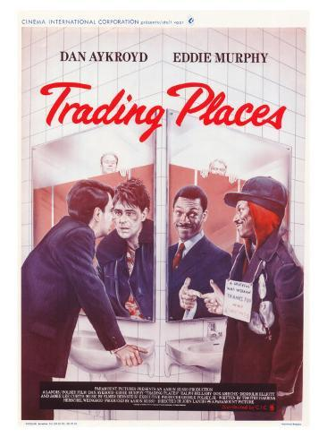 Trading Places, Belgian Movie Poster, 1983 Stretched Canvas Print