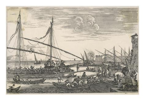 Trading Vessels in an Italian Sea-Port Giclee Print