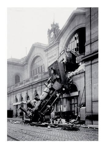 train accident at the gare montparnasse paris 1895 posters. Black Bedroom Furniture Sets. Home Design Ideas