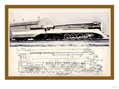 Train Drawing and Photo, c.1944 Art Print