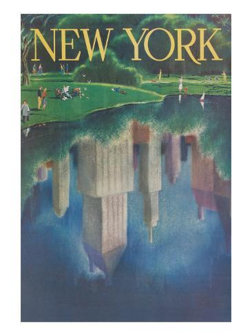Travel Poster, Central Park, New York City アートプリント