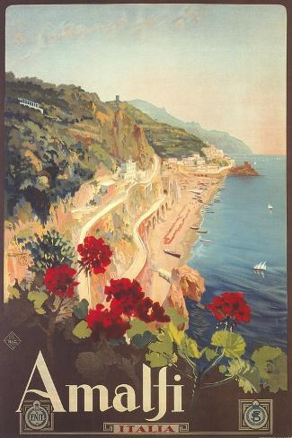 Travel Poster for Amalfi アートプリント