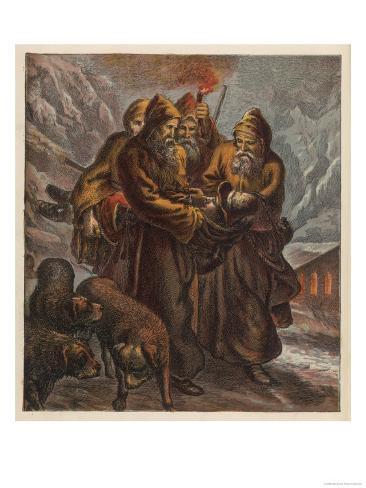 Traveller on the Pass of Saint Bernard is Saved by Dogs and Monks Lámina giclée