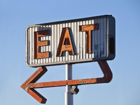 Retro Neon Eat Sign Ruin in Early Morning Light. Photographic Print