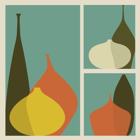 Triptych of Vases Art Print