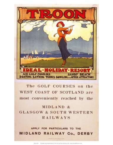 Troon, Ideal Holiday Resort, MR/G&SWR, c.1920 Art Print