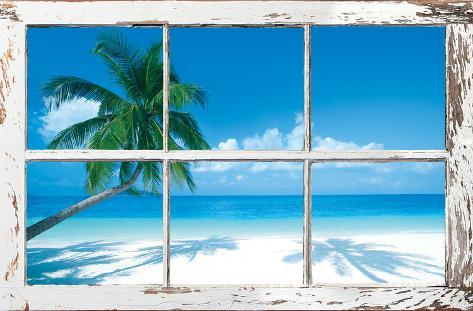 Tropical Beach Window Pôster