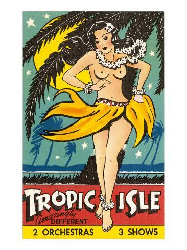 Tropical Girl Pin Up Art Print
