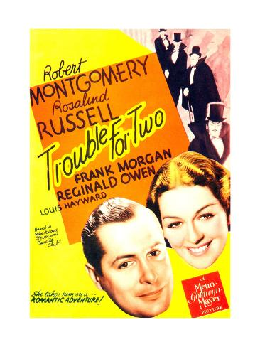 TROUBLE FOR TWO, US poster art, from left: Robert Montgomery, Rosalind Russell, 1936 Stampa artistica