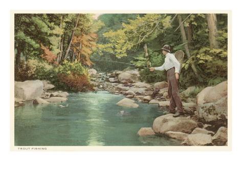Trout Fishing in Creek Art Print