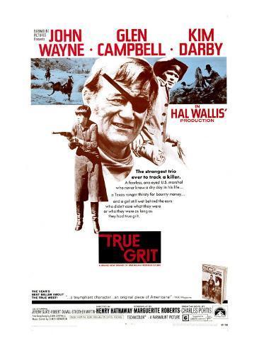 True Grit, Kim Darby, John Wayne, Glen Campbell, 1969 Photo