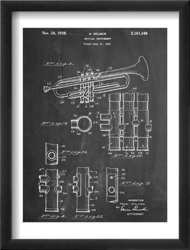 Trumpet Instrument Patent Framed Art Print