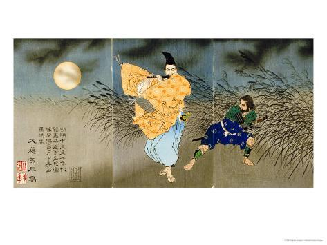A Triptych of Fujiwara No Yasumasa Playing the Flute by Moonlight Giclee Print