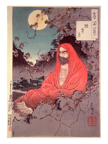 Meditation by Moonlight, (Colour Woodblock Print) Lámina giclée