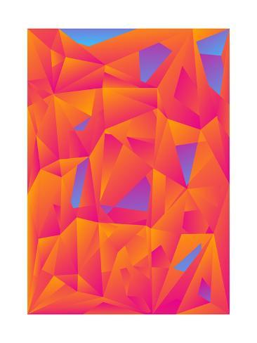 Orange Blue Abstract Polygonal Background Art Print