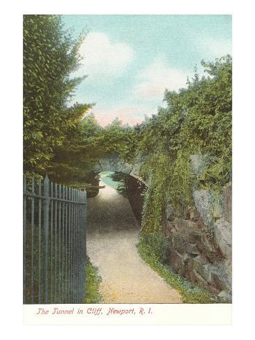 Tunnel in Cliff Walk, Newport, Rhode Island Art Print