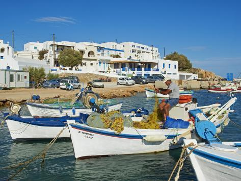 Karavostasis Village and Principal Port, Folegandros, Cyclades Islands, Greek Islands, Aegean Sea,  Photographic Print