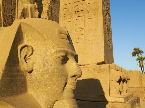 Statue of the Pharaoh Ramesses Ii and Obelisk, Temple of Luxor, Thebes, UNESCO World Heritage Site, Photographic Print