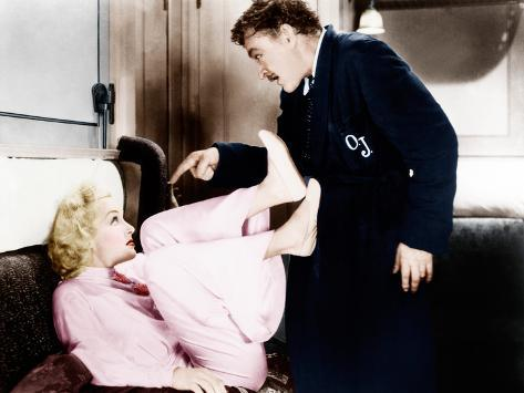 TWENTIETH CENTURY, from left: Carole Lombard, John Barrymore, 1934. Stretched Canvas Print