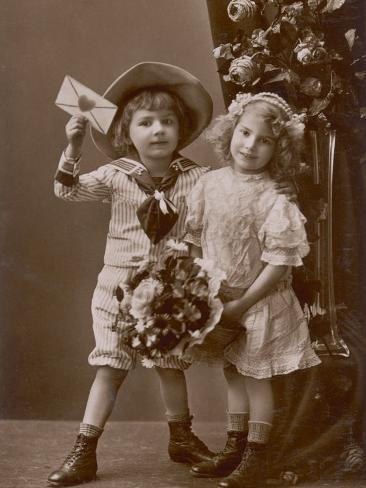 Two Children Carry a Love Letter, To My Little Sweetheart Photographic Print