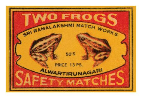 Two Frogs Safety Matches Art Print