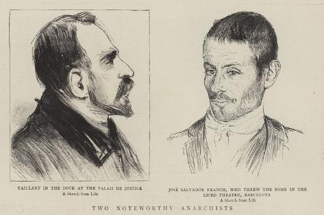 Two Noteworthy Anarchists, Vaillant, Jose Salvador Franch Giclee Print
