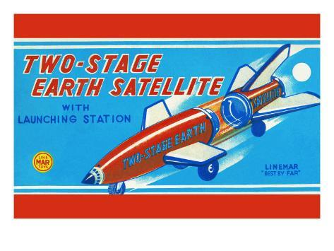 Two-Stage Earth Satellite Stretched Canvas Print