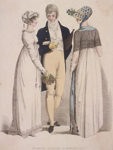 Two Women and a Man Wearing Evening Dress, 1808 Stampa giclée