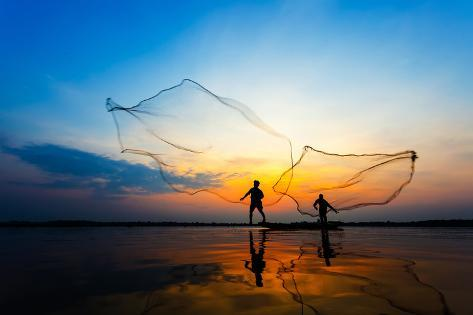 Fishermans in Action When Fishing at Sunrise, Wanon Niwat, Sakon Nakhon, Thailand. Photographic Print